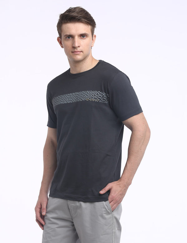 ADNOX Designer Round Neck Cotton Solid T-Shirt for Men (Dark Grey)