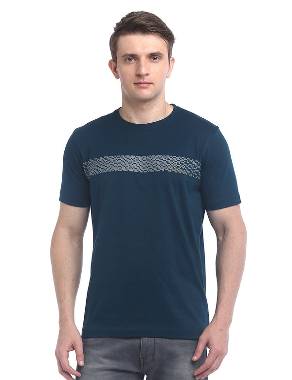 ADNOX Designer Round Neck Cotton Solid T-Shirt for Men (Steel Blue)