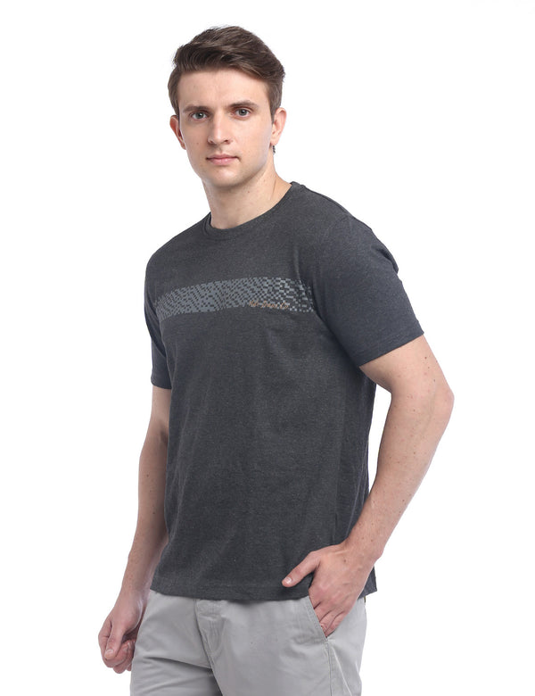 ADNOX Designer Round Neck Cotton Solid T-Shirt for Men (Grey)