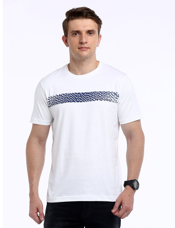 ADNOX Designer Round Neck Cotton Solid T-Shirt for Men (White)