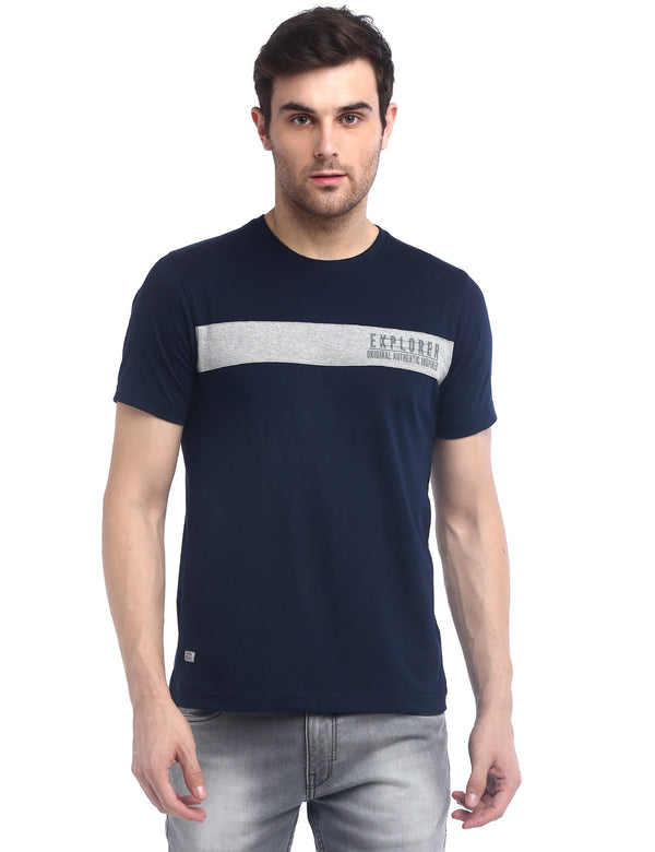 ADNOX Men's Designer Round Neck Solid Cotton T-Shirt (Navy Blue)