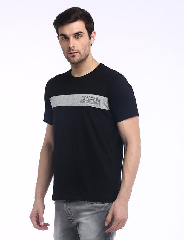 ADNOX Men's Designer Round Neck Solid Cotton T-Shirt (Black)