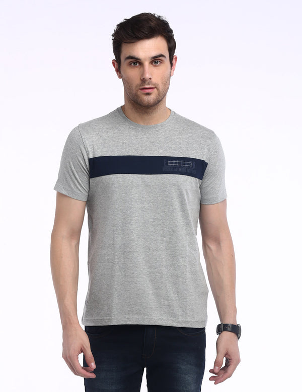 ADNOX Men's Designer Round Neck Solid Cotton T-Shirt (Grey)