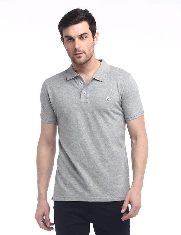 ADNOX Men's Solid Polo Cotton Collared T-Shirt (Grey)