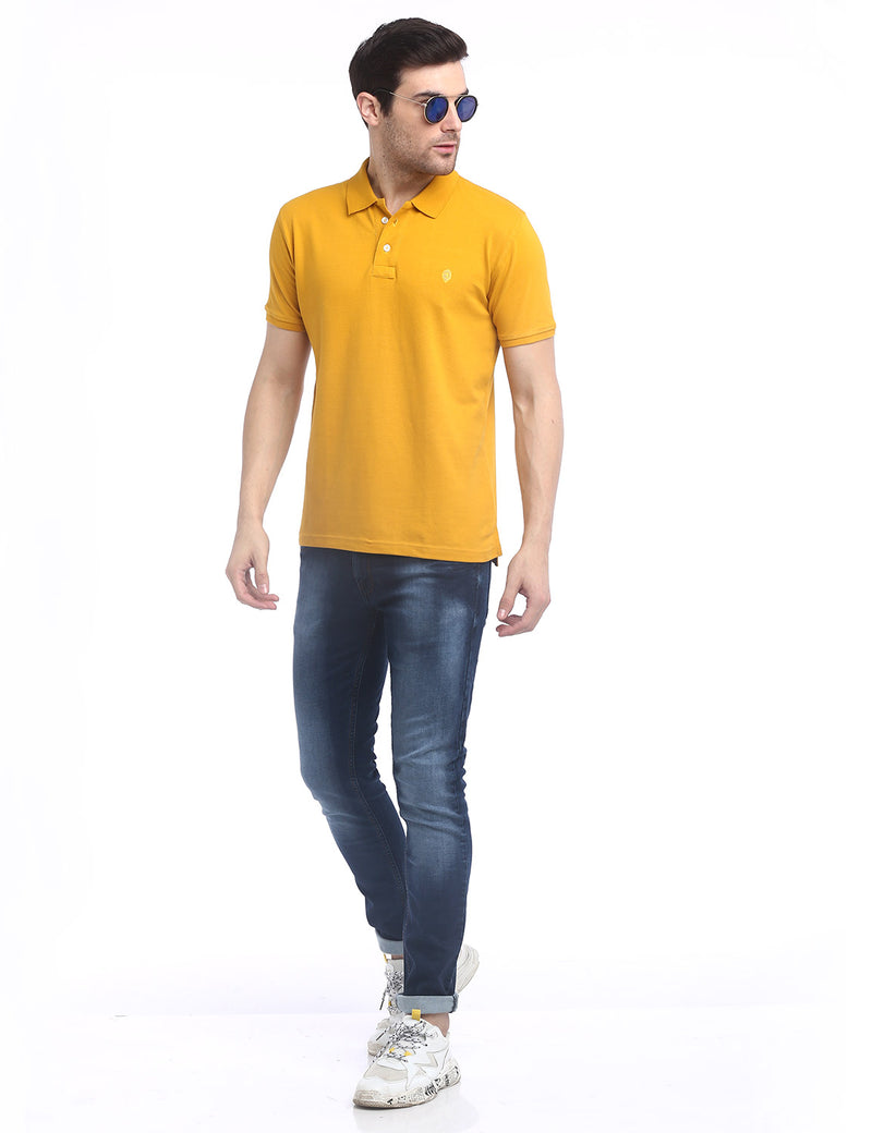 ADNOX Men's Solid Polo Cotton Collared T-Shirt (Yellow)