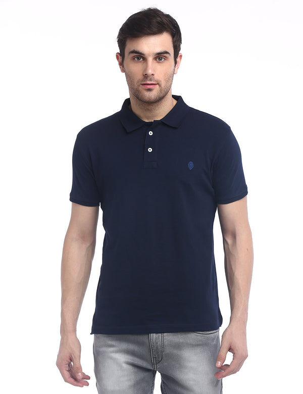 ADNOX Men's Solid Polo Cotton Collared T-Shirt (Navy Blue)