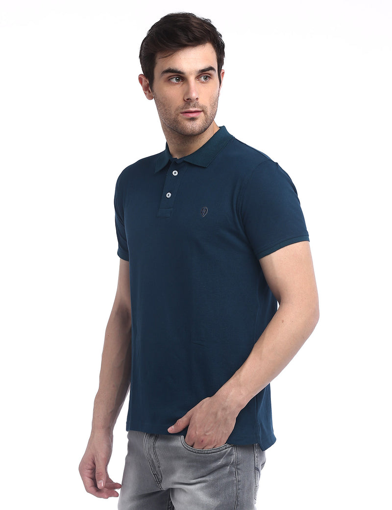 ADNOX Men's Solid Polo Cotton Collared T-Shirt (Steel Blue)