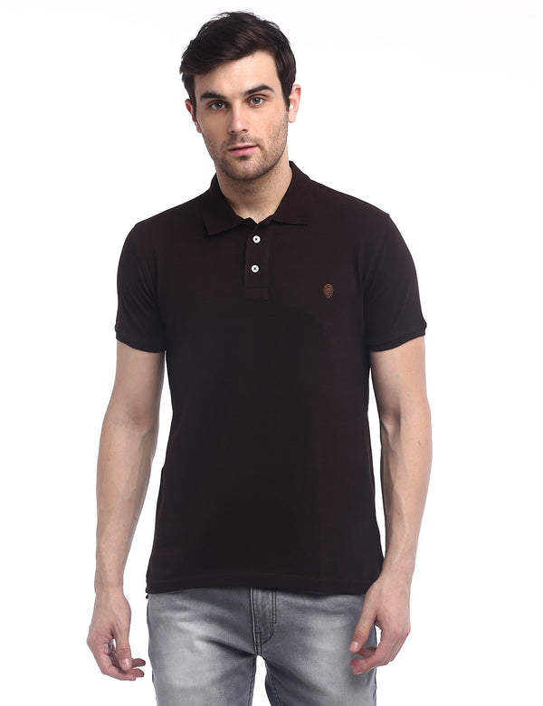 ADNOX Men's Solid Polo Cotton Collared T-Shirt (Coffee Brown)