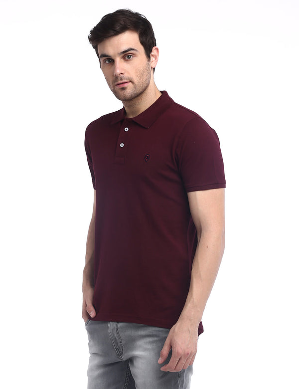 ADNOX Men's Solid Polo Cotton Collared T-Shirt (Maroon)
