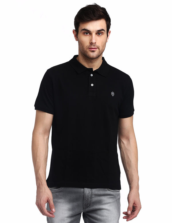 ADNOX Men's Solid Polo Cotton Collared T-Shirt (Black)