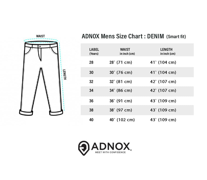 ADNOX Men's Slightly Shaded Smart Fit Jeans (Dark Grey)
