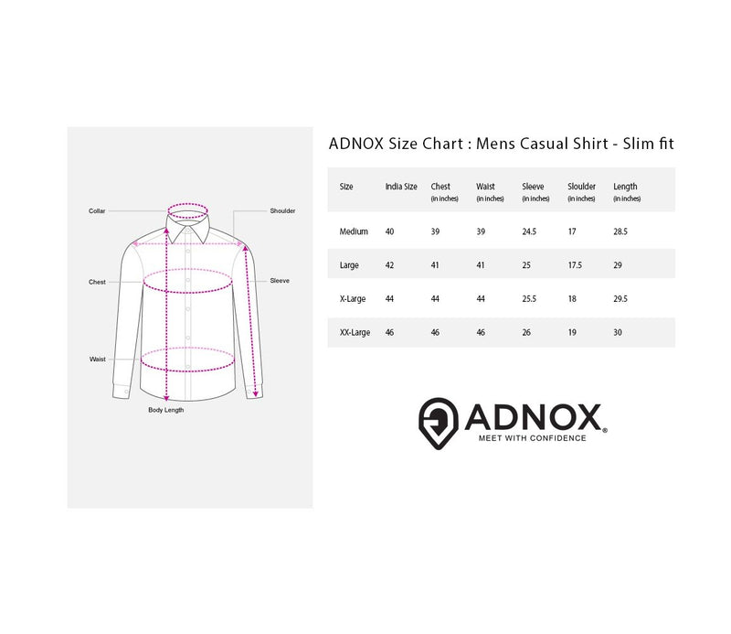 ADNOX Designer Plain Casual Fine Twill Cotton Casual Shirt for Men (Pink)
