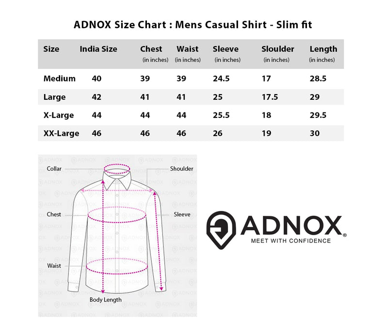 ADNOX Men's Designer Solid Casual Dobby Cotton Shirt (Dark Grey)