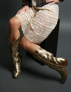 Vintage Leather Gold Cowboy Boots