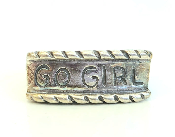 Sterling Silver 'GO GIRL' Ring
