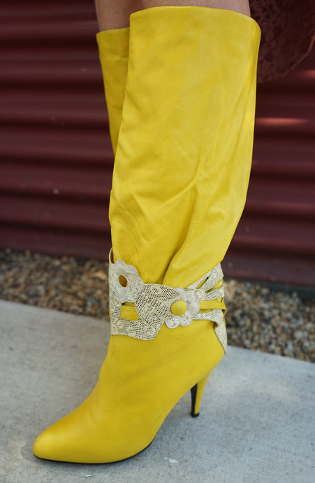 Vintage Yellow Lambskin Leather Boots