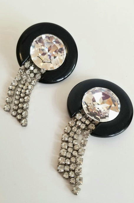 Vintage Lucite/Glass & Rhinestone Earrings