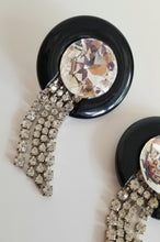 Load image into Gallery viewer, Vintage Lucite/Glass & Rhinestone Earrings