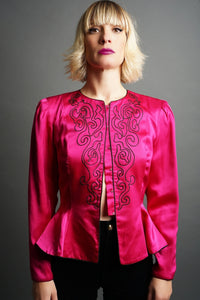 Vintage Fushia Applique Silk Blouse