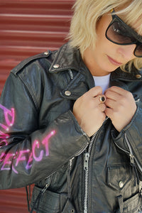 Leather Airbrush Moto Jacket