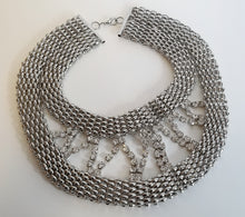 Load image into Gallery viewer, Silver Mesh & Rhinestone Necklace