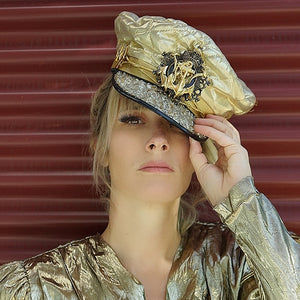 Quilted Gold Lame Nautical Hat