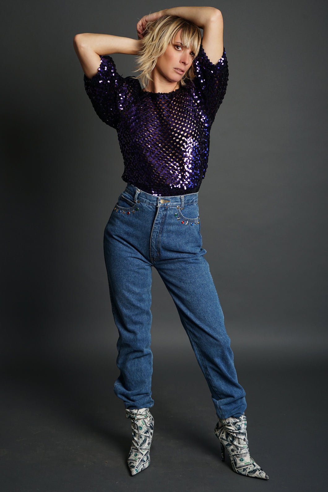 1980'S Jeweled Jeans