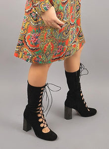 Vintage 1960's Lace Up Suede Boots