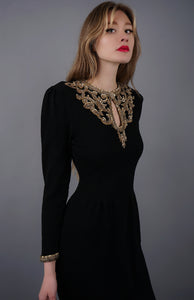 Vintage Gold Beaded Knit Dress