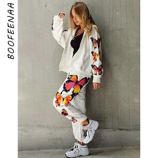 Butterfly Print White Zip Up Hoodie Sweatpants Two Piece Set