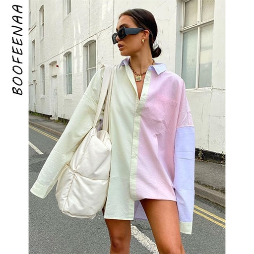Macaron Color Block Oversized Blouse