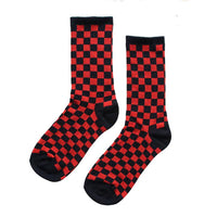 PSC CHECKERED/CHECKERBOARD TALL SOCKS BLACK RED