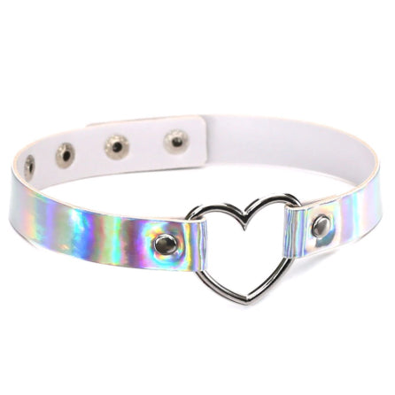 VEGAN LEATHER HOLOGRAPHIC METAL HEART SHAPED COLLAR CHOKER NECKLACE WHITE