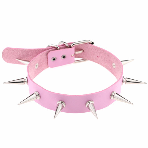CLASSIC VEGAN LEATHER LONG SILVER SPIKE COLLAR CHOKER NECKLACE PINK