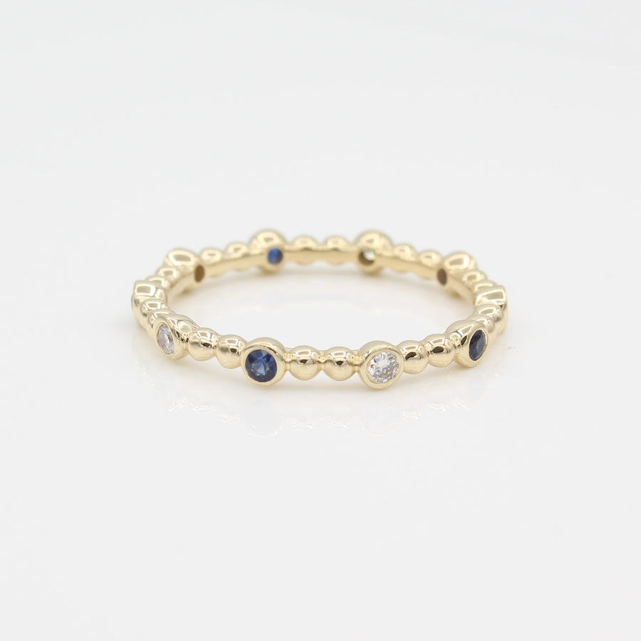 14k Yellow Gold 10 Station Diamond & Sapphire Beaded Eternity Band