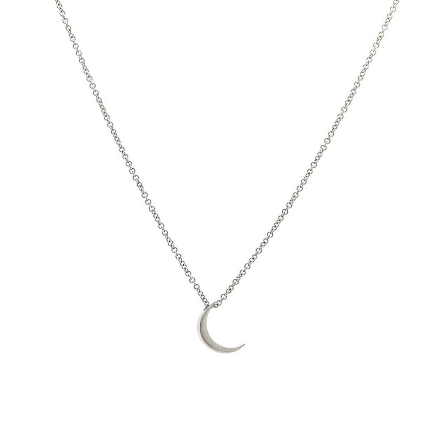 14k White Gold Crescent Moon Pendant.