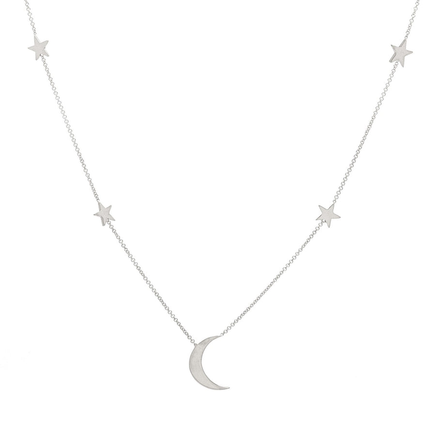 14k White Gold Shoot for the Moon Station Necklace.