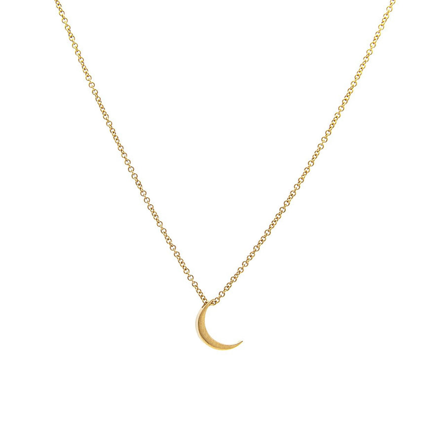 14k Yellow Gold Crescent Moon Pendant.