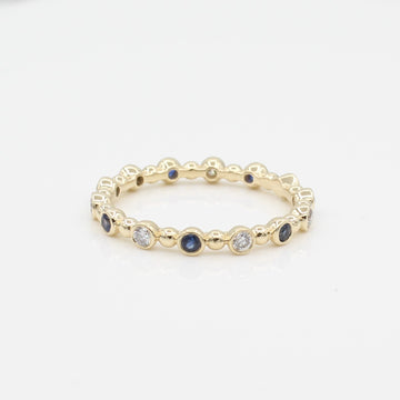 14k Diamond & Sapphire 14 Station Beaded Eternity Band