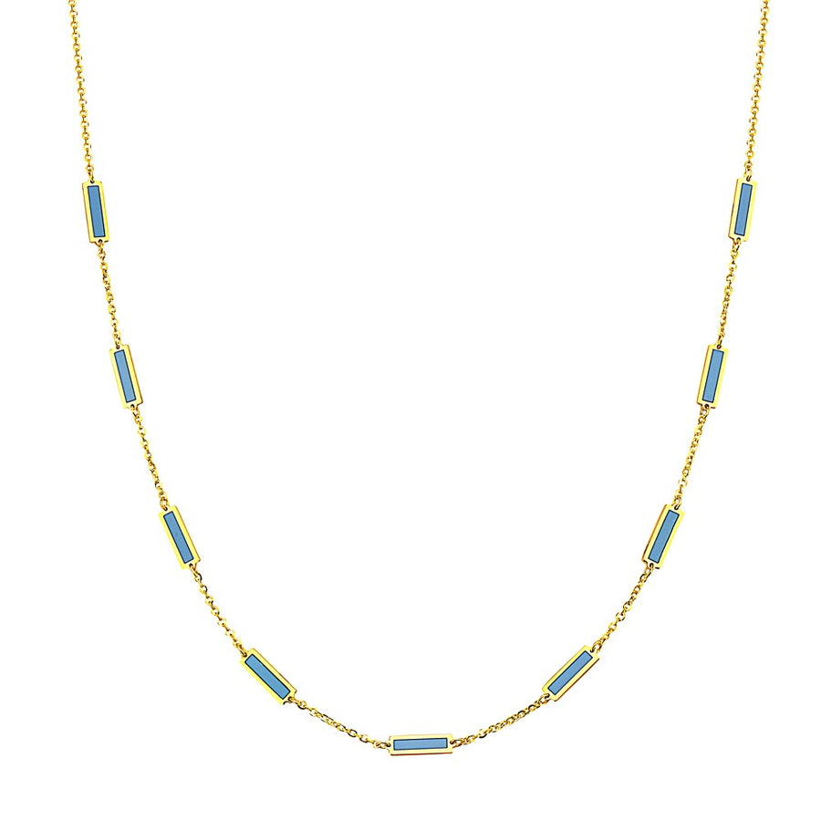14k Brilliant Turquoise 9 Bar Station Necklace