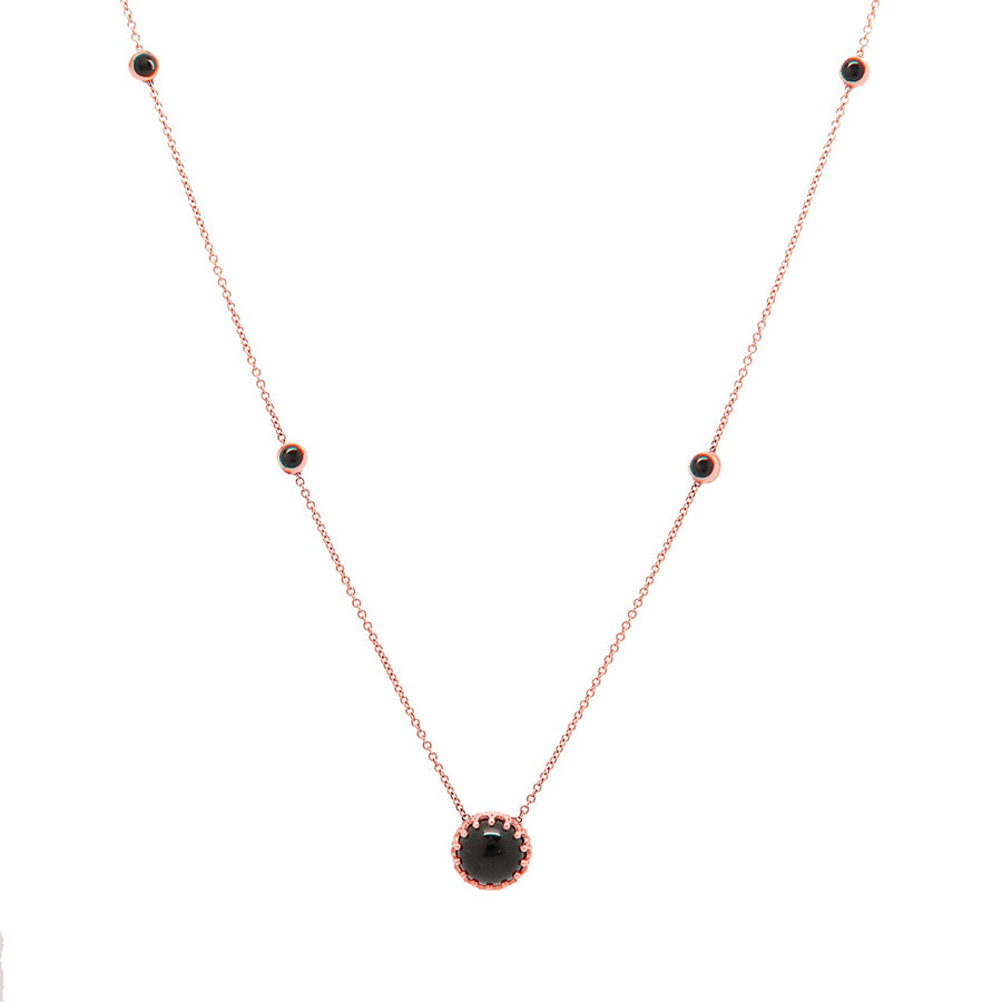 14k Rose Gold Bewitched Black Onyx Station Necklace.
