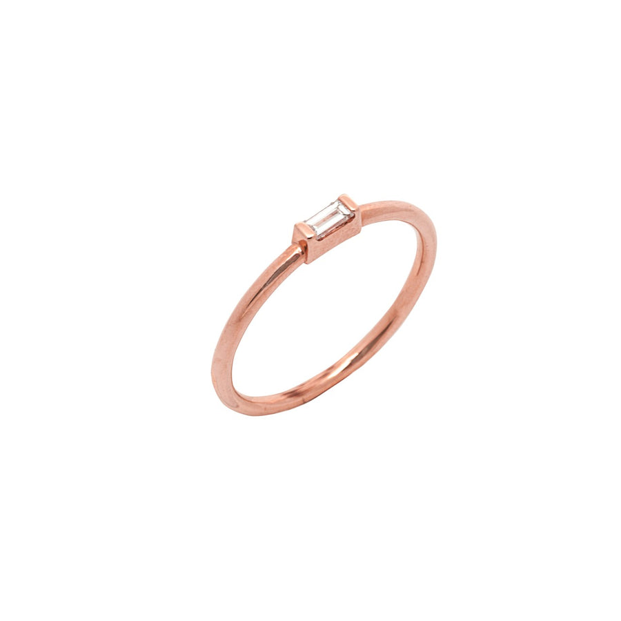 14k Rose Gold East-West Diamond Baguette Stackable Ring.