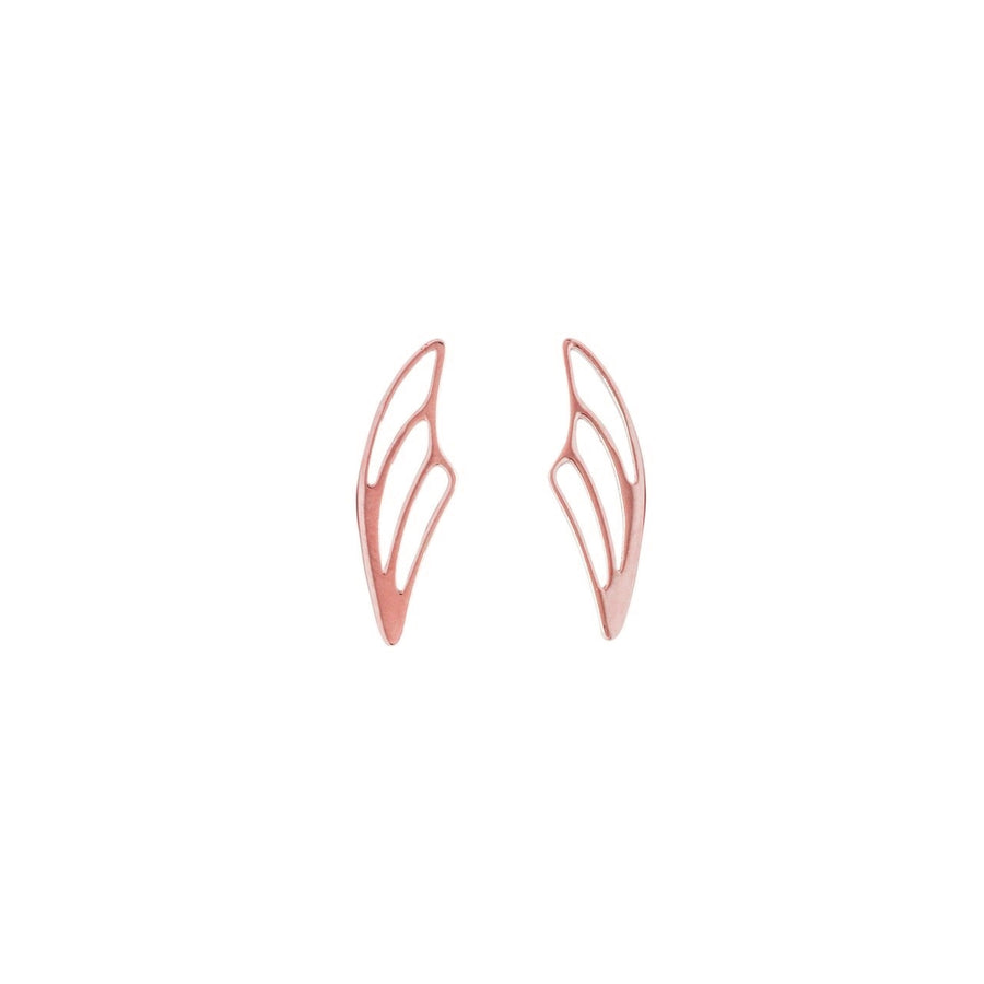 14k Rose Gold Fairy Wing Ear Climbers Earrings with Posts.