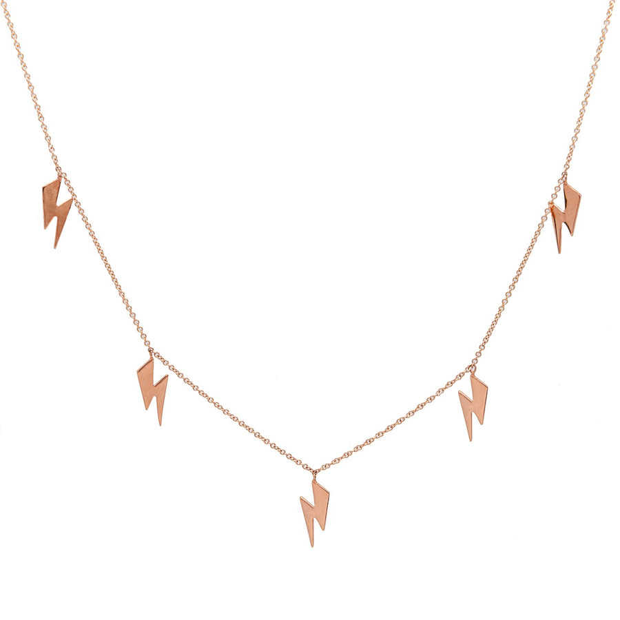14k Rose Gold Lightning Bolt Five Station Necklace.