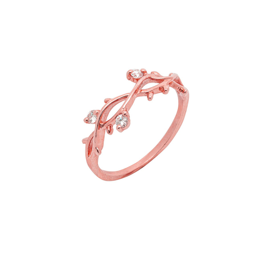 14k Rose Gold Perfectly Perched Diamond Branch Ring