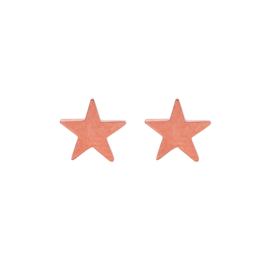 14k Rose Gold Shining Star Earrings.