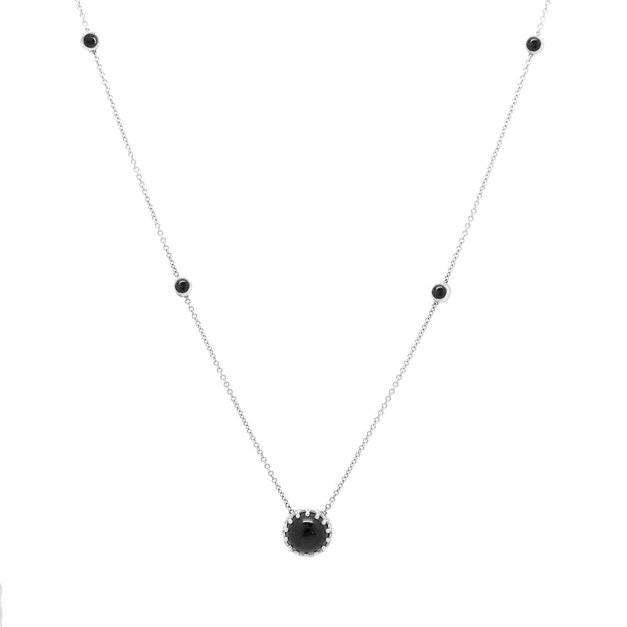 14k White Gold Bewitched Black Onyx Station Necklace.