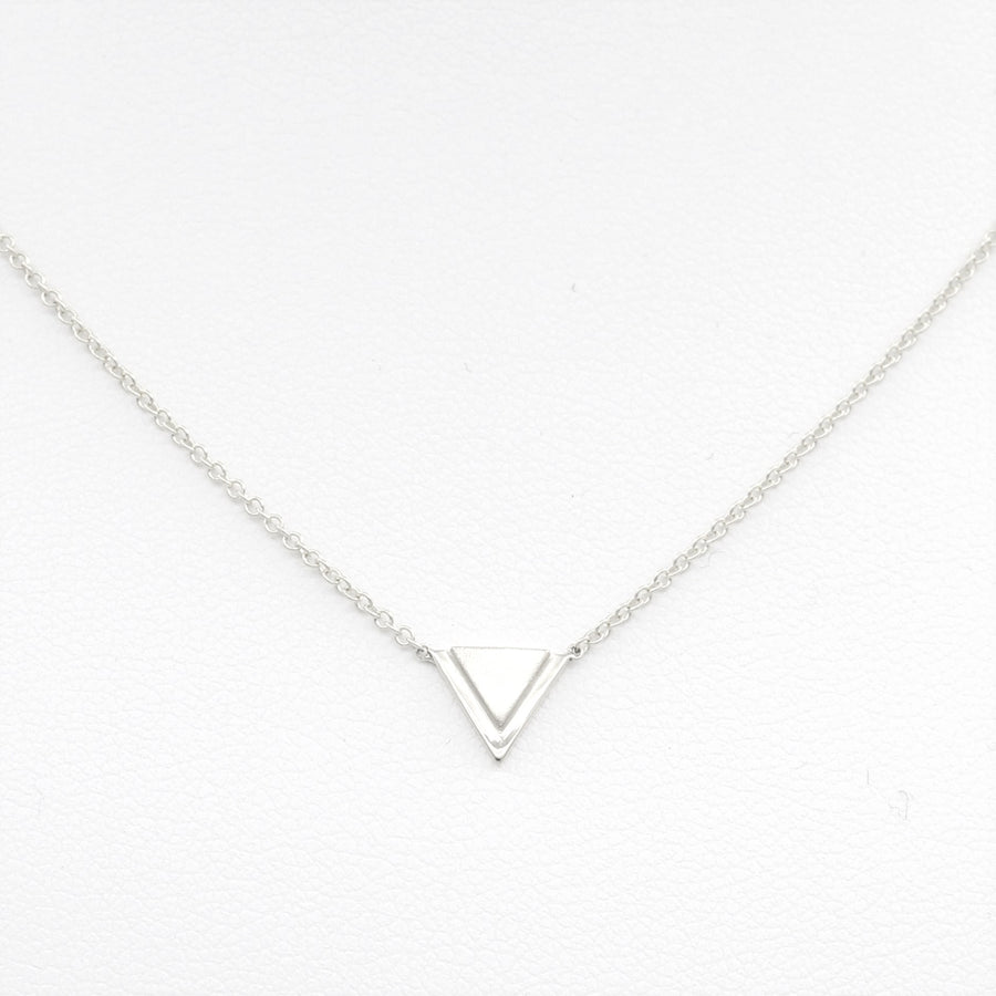 14k White Gold Petite Double Triangle Single Station Pendant.