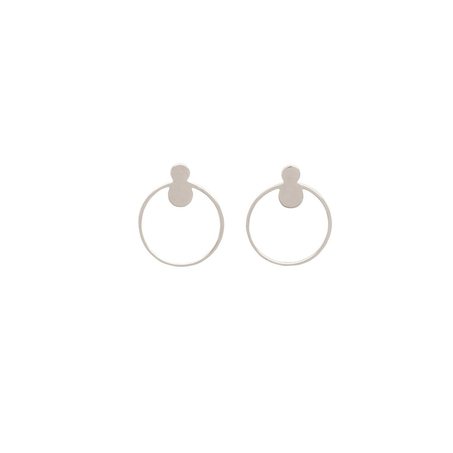 14k White Gold Open Circle Front Facing Hoop Stud EarringsG