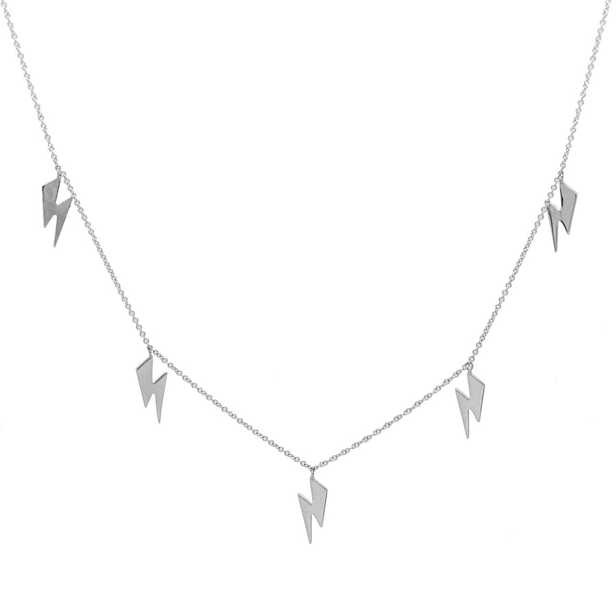 14k White Gold Lightning Bolt Five Station Necklace.